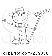 Royalty Free RF Clipart Illustration Of An Outlined Farmer Boy Holding A Rake And Waving