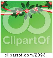 Clipart Illustration Of Red Berries And Holly Leaves With Swirls Over A Green Christmas Background