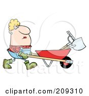 Caucasian Female Landscaper Pushing A Rake And Shovel In A Wheelbarrow