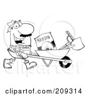 Outlined Male Landscaper Pushing Seeds A Rake And Shovel In A Wheelbarrow
