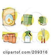 Royalty Free RF Clipart Illustration Of A Digital Collage Of Seeds Boots Gloves Pots A Spray Bottle And Pruners by Hit Toon