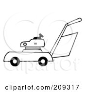Royalty Free RF Clipart Illustration Of An Outlined Lawn Mower