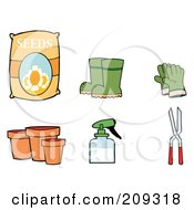 Royalty Free RF Clipart Illustration Of A Digital Collage Of Flower Seeds Boots Gloves Pots A Spray Bottle And Pruners