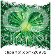 Shining Green Christmas Star Over A Bursting Green Background by elaineitalia