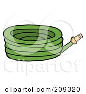 Royalty Free RF Clipart Illustration Of A Green Garden Hose by Hit Toon