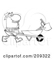 Royalty Free RF Clipart Illustration Of An Outlined Male Landscaper Pushing A Rake And Shovel In A Wheelbarrow