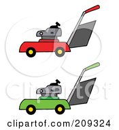 Royalty Free RF Clipart Illustration Of A Digital Collage Of Red And Green Lawn Mowers