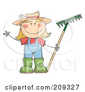 Royalty Free RF Clipart Illustration Of A Caucasian Farmer Girl Holding A Rake And Waving