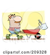 Caucasian Guy Landscaper Pushing A Rake And Shovel In A Wheelbarrow