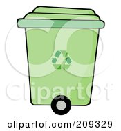Royalty Free RF Clipart Illustration Of A Rolling Green Plant Recycle Bin by Hit Toon