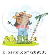 Royalty Free RF Clipart Illustration Of A Black Farmer Girl Waving And Holding A Rake