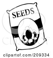 Royalty Free RF Clipart Illustration Of A Black And White Bag Of Flower Seeds