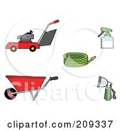 Royalty Free RF Clipart Illustration Of A Digital Collage Of A Lawn Mower Wheel Barrow Hose Spray Bottle And Nozzle