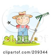 Royalty Free RF Clipart Illustration Of A Caucasian Farmer Boy Waving And Holding A Rake