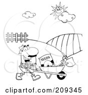 Royalty Free RF Clipart Illustration Of An Outlined Male Farmer Pushing Seeds A Rake And Shovel In A Wheelbarrow