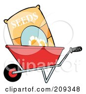 Royalty Free RF Clipart Illustration Of A Bag Of Flower Seeds In A Wheel Barrow