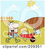 Royalty Free RF Clipart Illustration Of A Caucasian Male Landscaper Pushing A Wheel Barrow With Seeds A Rake And Shovel