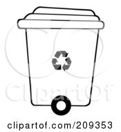 Royalty Free RF Clipart Illustration Of A Rolling Plant Recycle Bin by Hit Toon