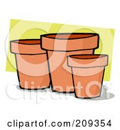 Royalty Free RF Clipart Illustration Of Terra Cotta Pots