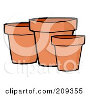 Royalty Free RF Clipart Illustration Of Three Terra Cotta Pots by Hit Toon
