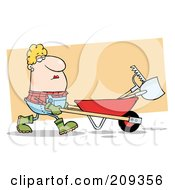 Royalty Free RF Clipart Illustration Of A Caucasian Lady Landscaper Pushing A Rake And Shovel In A Wheelbarrow