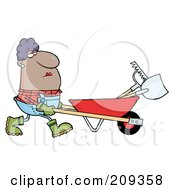 Royalty Free RF Clipart Illustration Of A Hispanic Female Landscaper Pushing A Rake And Shovel In A Wheelbarrow