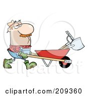Royalty Free RF Clipart Illustration Of A Caucasian Male Landscaper Pushing A Rake And Shovel In A Wheelbarrow