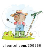 Royalty Free RF Clipart Illustration Of A Black Farmer Boy Waving And Holding A Rake