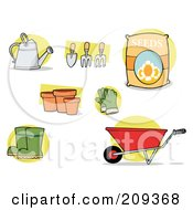 Royalty Free RF Clipart Illustration Of A Digital Collage Of Garden Tools by Hit Toon