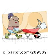 Royalty Free RF Clipart Illustration Of A Hispanic Lady Landscaper Pushing A Rake And Shovel In A Wheelbarrow by Hit Toon