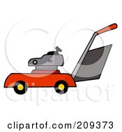 Royalty Free RF Clipart Illustration Of A Red Lawn Mower by Hit Toon