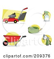 Royalty Free RF Clipart Illustration Of A Digital Collage Of A Lawnmower Wheel Barrow Hose Spray Bottle And Nozzle by Hit Toon