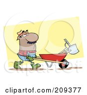 Royalty Free RF Clipart Illustration Of A Hispanic Guy Landscaper Pushing A Rake And Shovel In A Wheelbarrow