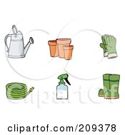 Royalty Free RF Clipart Illustration Of A Digital Collage Of A Watering Can Pots Gloves A Hose Spray Bottle And Boots
