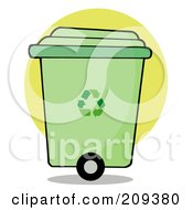Royalty Free RF Clipart Illustration Of A Rolling Green Recycle Bin