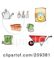 Royalty Free RF Clipart Illustration Of A Digital Collage Of Gardening Tools by Hit Toon