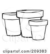 Royalty Free RF Clipart Illustration Of Three Outlined Terra Cotta Pots