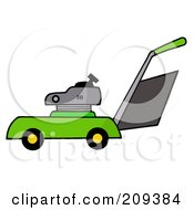 Royalty Free RF Clipart Illustration Of A Green Lawn Mower by Hit Toon