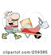 Caucasian Male Landscaper Pushing Seeds A Rake And Shovel In A Wheelbarrow