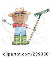 Royalty Free RF Clipart Illustration Of A Black Farmer Boy Holding A Rake And Waving by Hit Toon