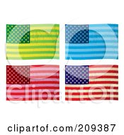 Royalty Free RF Clipart Illustration Of A Digital Collage Of Colorful Grungy American Flags by michaeltravers