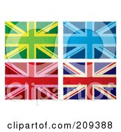 Royalty Free RF Clipart Illustration Of A Digital Collage Of Colorful Grungy British Flags by michaeltravers