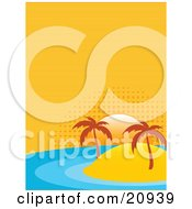 Clipart Illustration Of Two Palm Trees On A Sandy Island In The Middle Of The Ocean The Sun Setting On The Horizon