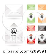Royalty Free RF Clipart Illustration Of A Digital Collage Of Colorful Email Envelope Icons by michaeltravers