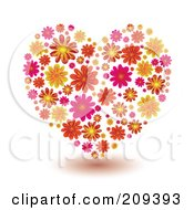Royalty Free RF Clipart Illustration Of A Pattern Of Orange Yellow And Pink Flowers Forming A Heart by michaeltravers
