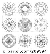 Royalty Free RF Clipart Illustration Of A Digital Collage Of Spiral Design Elements