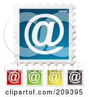 Royalty Free RF Clipart Illustration Of A Digital Collage Of Colorful Email Postage Stamps by michaeltravers #COLLC209395-0111