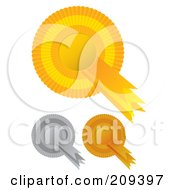 Royalty Free RF Clipart Illustration Of A Digital Collage Of Gold Silver And Bronze Rosette Award Ribbons