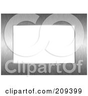 Royalty Free RF Clipart Illustration Of A Brushed Metal Frame Bordering A White Background by michaeltravers