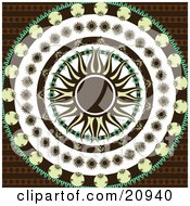 Clipart Illustration Of A Retro Yellow And Black Sun In The Center Of Circles Of Black Yellow And Green Floral Patterns Over A Patterned Brown Background